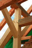 Roof. Detail of wooden roof support structures secured by pins stock image
