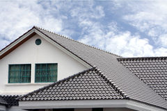 Roof. A stylish pattern of grey tile roofing Royalty Free Stock Photo