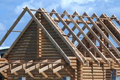 Roof. The wooden construction - roof truss Stock Photo