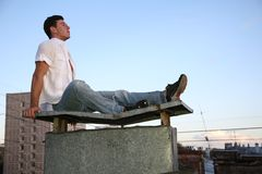 On the roof Stock Photos