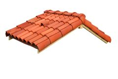 Roof. Small roof with red tiles isolated Royalty Free Stock Photos