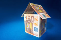 Roof. House made out of  50 Euro bills Royalty Free Stock Images