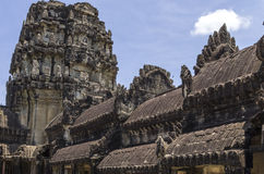 Roof of Angkorwat. The roofs made of black stone of Angkor  Wat temple Royalty Free Stock Images
