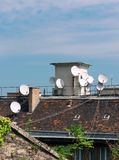 Roof with antennas Stock Photo