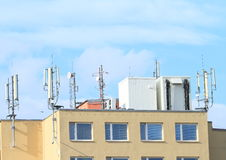Roof with antennas Royalty Free Stock Images