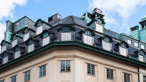 Roof of apartment house in Stockholm city Stock Photo