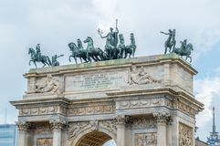 Roof of Arco della Pace. Roof of Arco della Pace in Milan, Italy stock image