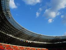 Roof of arena and the blue sky. Upper circle of arena before the match beginning Royalty Free Stock Photography