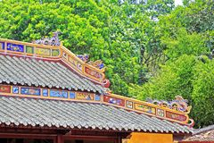 Roof Art In Hue Imperial Tomb of Tu Duc, Vietnam UNESCO World Heritage Site. The imperial tomb of Tu Duc is considered to be the most beautiful Imperial tomb of Royalty Free Stock Image