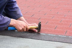 Roof asphalt shingles Royalty Free Stock Images