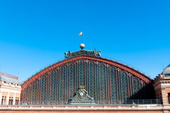 Roof of atocha railway station, Madrid. Madrid Atocha is the largest railway station in Madrid. The station is in the Atocha neighborhood of the district of stock photography
