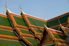Roof of Bangkok grand palace, Thailand Royalty Free Stock Images