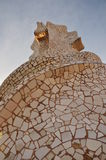 Roof in Barcelona. Roof Barcelona Gaudi architecture mosaic Stock Photography