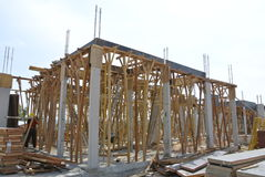 Roof beam formwork fabricated at construction site Stock Image