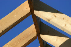 Roof Beams. Timber roof framework __ selective focus on front beam stock photos