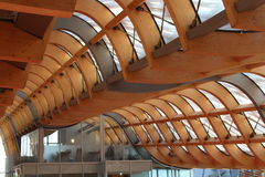 Roof beams. Modern architecture made with wooden beams royalty free stock photography