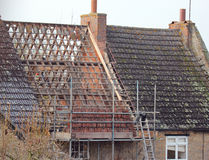 Roof being repaired. Royalty Free Stock Images