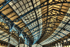 Roof of Brighton railway station. Steel roof of the Victorian railway station in Brighton, England, UK Stock Photography