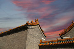 Roof of a Buddhist temple, Beijing, China Royalty Free Stock Photo