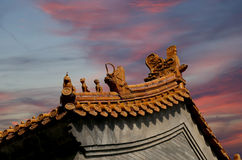 Roof of a Buddhist temple, Beijing, China Royalty Free Stock Photography