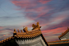 Roof of a Buddhist temple, Beijing, China Royalty Free Stock Photos