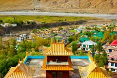 Roof of buddhist temple and view of Kaza Stock Photography