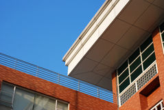 Roof of the building. Roof of the red building with blue sky Stock Photos