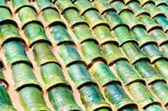 Roof on building in Morocco. Pattern of green pots on roof in morocco Stock Images