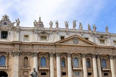 Roof and building of saint Peter basilica in Rome, Italy. stock photos