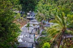 Roof bungalows in the palm jungle Royalty Free Stock Photos