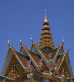 Roof Cambodian temple. The roof of a new Cambodian temple near Battambang Royalty Free Stock Images