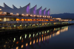 The roof of Canada place at night, vancouver Stock Image