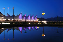The roof of Canada place at night, vancouver Royalty Free Stock Photos