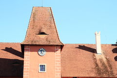 Roof of Castle Cervena Lhota. Roof of red water castle Cervena Lhota with clocks (Czech Republic stock photo