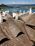 Roof of the castle-interesting form. stock photography