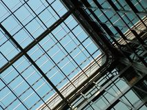 Roof - ceiling. Glass roof. Roof of modern building. Detail of roof. Tiles of roof royalty free stock photo