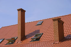 Roof with chimney stock photos