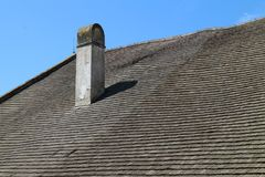 Roof with chimney on Buchlov castle stock photos
