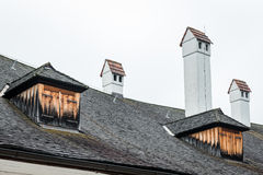 Roof and Chimney of a Castle Stock Image