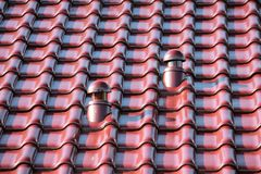 Roof with chimney, Roof ventilator, modern ceramic tile. Red Roof with chimney, Roof ventilator, modern ceramic tile Royalty Free Stock Photo