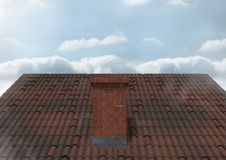 Roof with chimney and sky Royalty Free Stock Photo