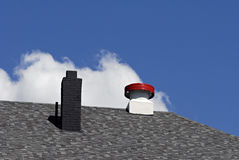 Roof Chimney and Vent. Gray shingled roof with chimney and vent Stock Photography