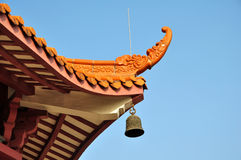 A roof of China Temple pagoda tower,Buddhism Building Royalty Free Stock Photos