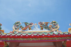 Roof of Chinese Architecture Temple in Thailand Stock Images