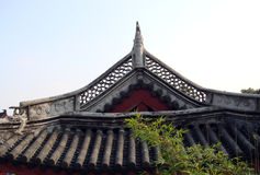 Roof of Chinese building. Exterior of traditional Chinese building with bamboo roof Stock Photography