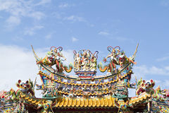Roof of Chinese Shrine on sky background. Roof of Chinese Shrine on sky background stock photos