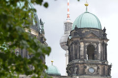 The roof of a church in Berlin in front of the Radio Tower, Germany Royalty Free Stock Photo