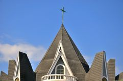 Roof of church building under sky Royalty Free Stock Photography