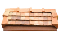 Roof clay tile isolated Stock Photo