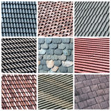 Roof collage. A collage of nine photos about italian roof theme - construction background stock photography